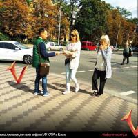 раздача листовок для сети кофеен Киева