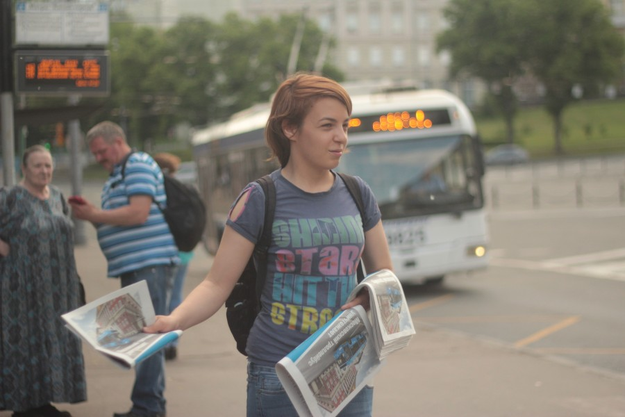 Newspaper distribution in Kiev